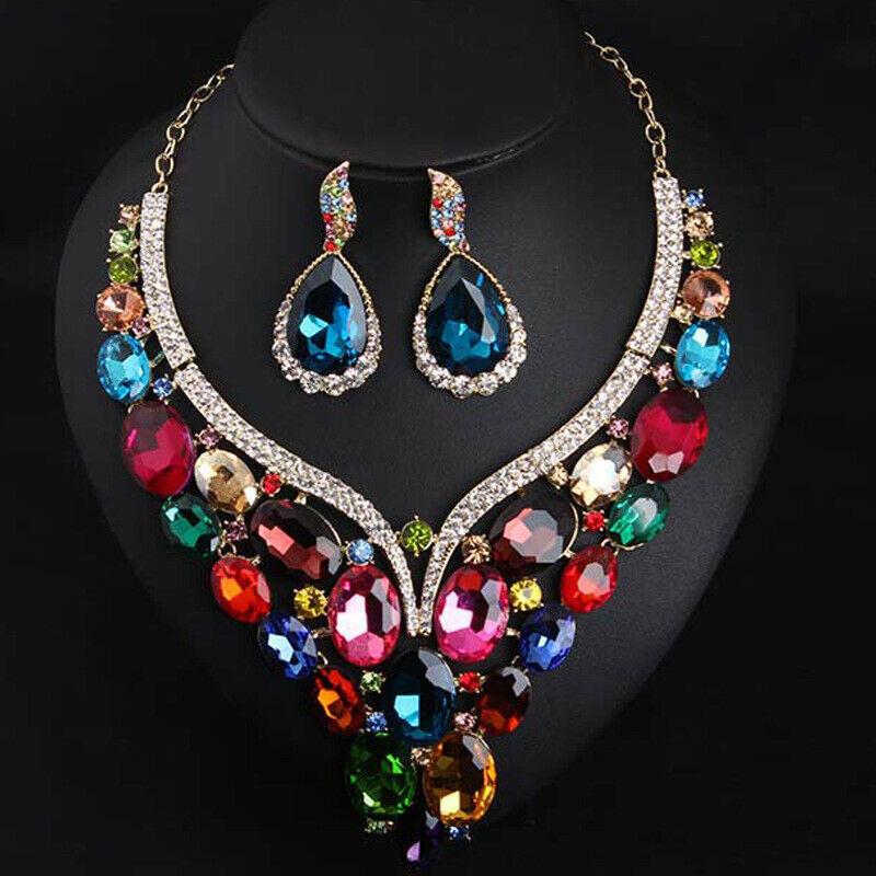 Image 4 - Luxury Crystal Jewelry Set Statement Necklace Earring Bridal Wedding Jewellery Fashion Women Rhinestone Statement Choker IndianJewelry Sets   -