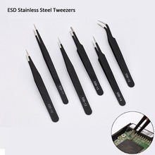 New 2/6Pcs Anti-static Precision Tweezers Set ESD Stainless Steel Tweezers Maintenance Tools Industrial Curved Straight Tweezers 6pcs esd anti static stainless steel tweezers set maintenance repair tool kit anti static model making tool hand tool set