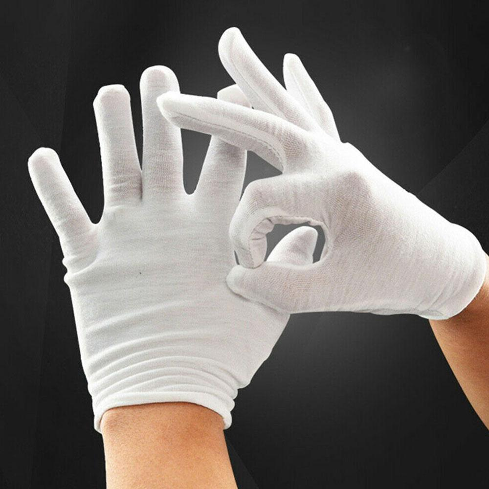 12 Pairs/lot White 100% Cotton Ceremonial Gloves For Male Serving / Waiters/drivers/Jewelry Female Gloves O6Q5