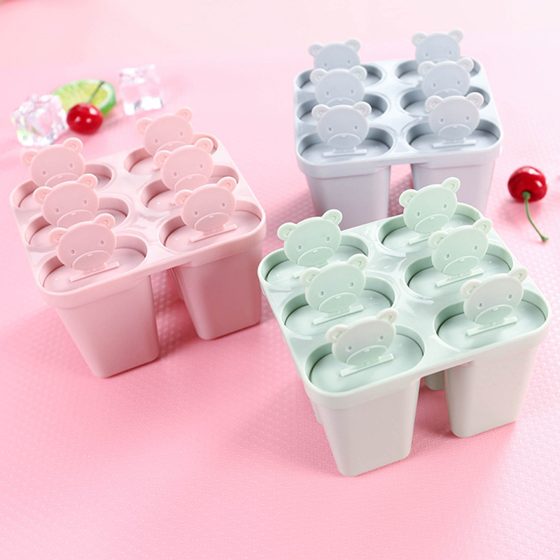 6 Cell Bear Handle Mould Tray Pan Kitchen 3 Color Frozen Ice Cube Molds Popsicle Maker DIY Ice Cream Tools Cooking Tools