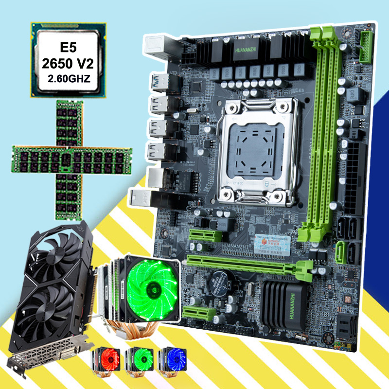 HUANANZHI Computer Hardware DIY Micro-ATX X79 Motherboard Discount Motherboard With CPU Intel Xeon E5 2650 V2 Cooler RAM 32G