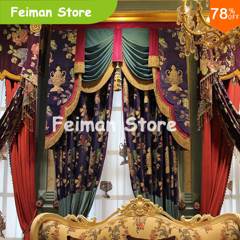 Extreme Godness Luxury Nice Embroidery Water Bottle Oil Painting Religious Bedroom Drapery Luxury Drapes Finished Curtain
