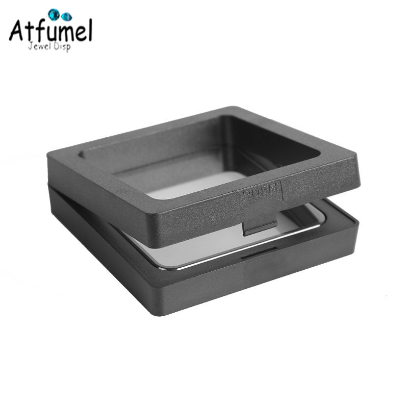 Купить с кэшбэком 3D Album Floating Frame Box Black White Coin Box Pendant Holder Gemstone Jewelry Box Wedding Ring Display Box Badge Organizer