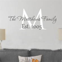 Family Name Wall sticker Last Name Date Decal Home Decor Foyer Vinyl Lettering Wall Art For Home Wedding Decals home decor HY817 cheap YOYOYU ART HOME DECOR Plane Wall Sticker Modern Furniture Stickers For Refrigerator Window Stickers For Wall Single-piece Package