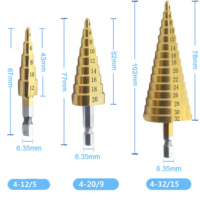 4 12/20/32mm 3pcs צעד מקדח Unibit טיטניום HSS פלדת קון התעשייתית מקדד משושה ערכת סט חור חותכי