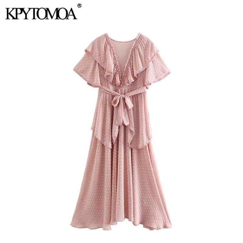 Vintage Sweet Dot Chiffon Bow Tie Sashes Ruffles Midi Dress Women 2020 Fashion O Neck Short Sleeve Beach Dresses Vestidos Mujer