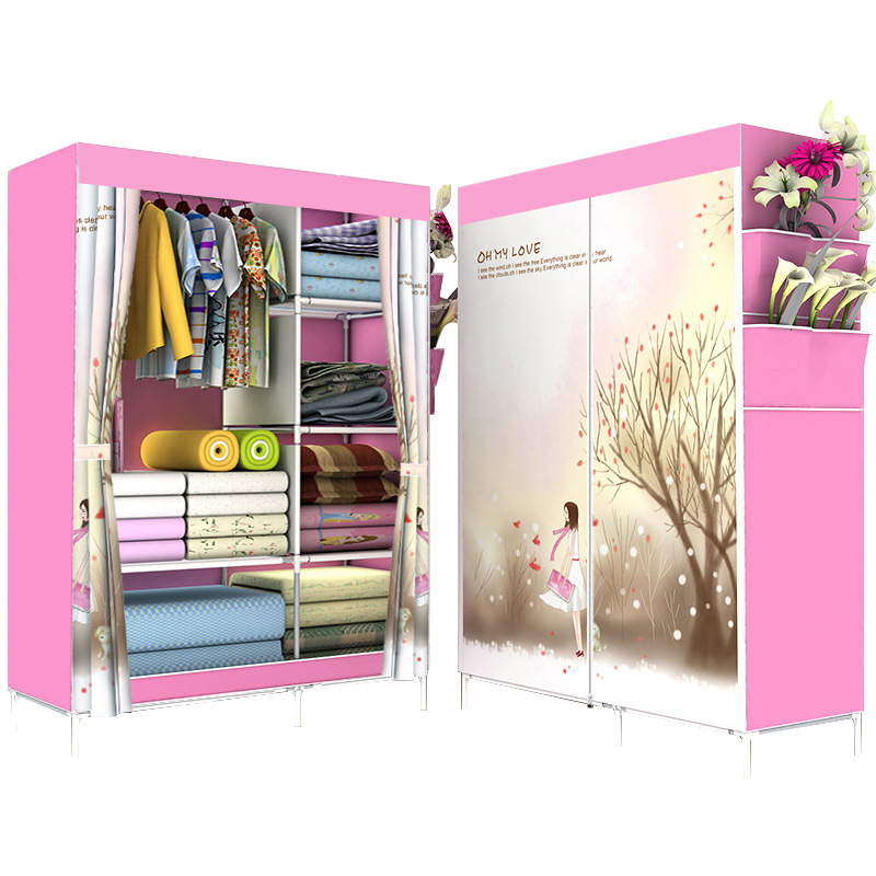 Fashion Printing Portable Wardrobe Assembled Storage Cabinet Metal Clothes Hanger Fabric Clothing Closet For Bedroom Furniture