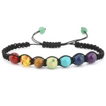 Classic Seven Colors Chakra Stone Bead Bracelet for Men Charm  braid Adjustable Hand Jewelry Gift DropShipping