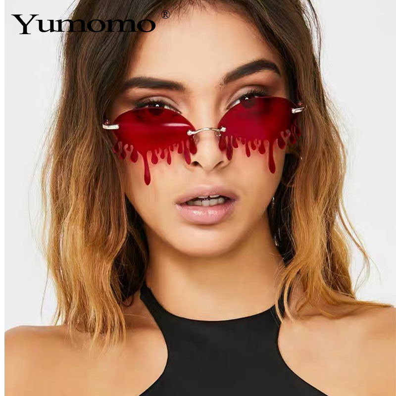 Hot Sale Fashion Water Drop Sunglasses Women Rimless Wave Punk Sun Glasses Luxury Trending Sunglasses Streetwear Gafas Shades