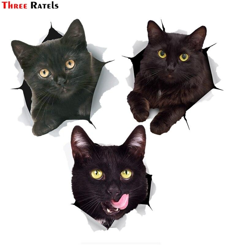 สามRatels FTC-1094 3DสีดำFAT Catสติกเกอร์สำหรับรถกันชนสติกเกอร์รูปลอกสำหรับห้องน้ำตู้เย็นห้องครัวCabientประ...