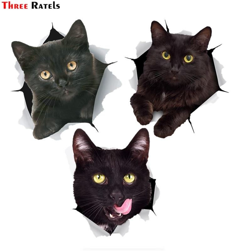 Trois Ratels FTC-1094 3D noir gros chat autocollant pour voiture pare-chocs autocollant autocollant pour toilette réfrigérateur cuisine armoire fenêtre porte