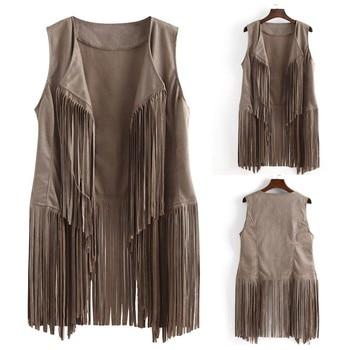 Women Fashion Slim Vest coats New Women Sleeveless Tassels Jacket Autumn Winter Female Women's Windproof Warm Vest Cardigan#729
