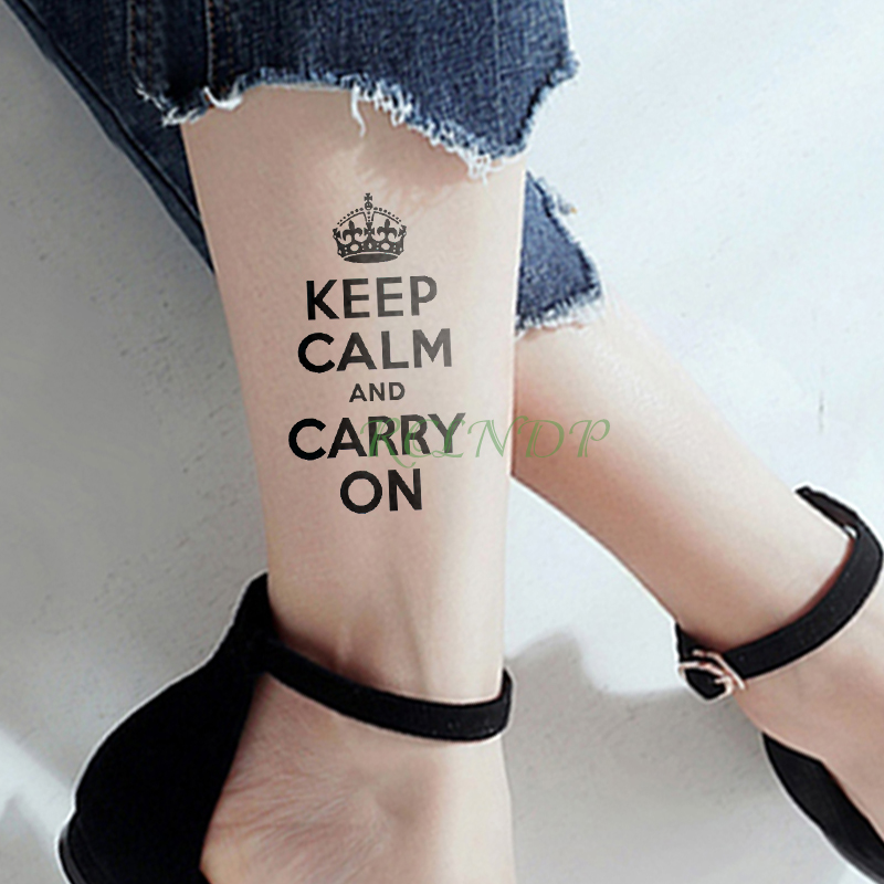 Waterproof Temporary Tattoo Sticker Crown Letter