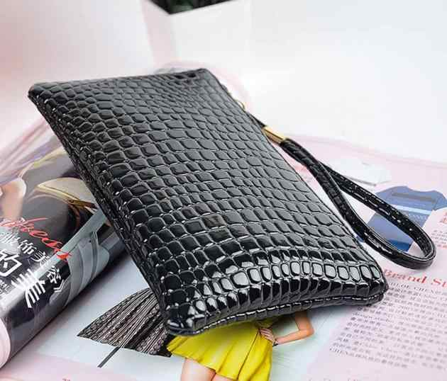 จระเข้กระเป๋าถือหนังกระเป๋ากระเป๋าเหรียญ PURE สีกระเป๋าซิปเหรียญคลัทช์กระเป๋าถือ