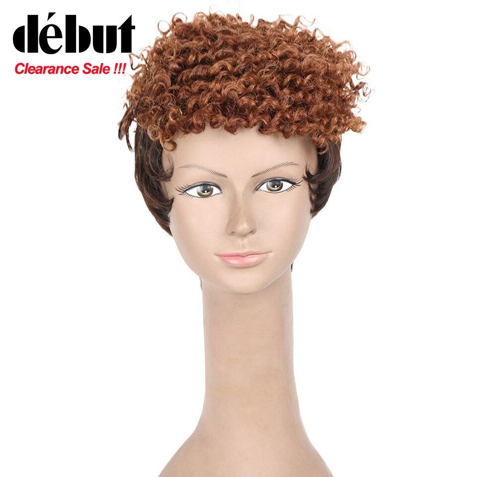 Debut Curly Human Hair Wigs Short Bob Wigs For Black Women Afro Kinky Curl Machine Made Human Hair Wig Free Shipping