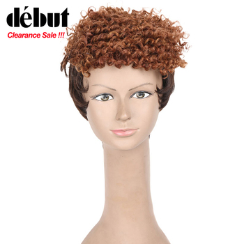 цена на Debut Curly Human Hair Wigs Short Bob Wigs For Black Women Afro Kinky Curl Machine Made Human Hair Wig Free Shipping