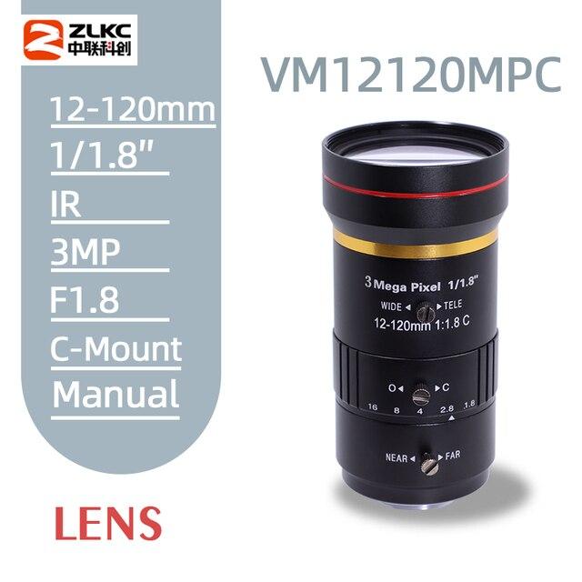 3.0 megapixel 12 120mm hd cctv lente manual iris varifocal c montagem lente para câmeras ip lente baixa distorção fa