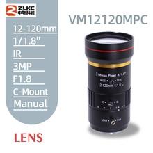 3.0Megapixel 12-120 mm HD CCTV lens manual Iris Varifocal C mount lens for ip cameras lens Low distortion FA lens