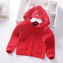 Детский кардиган, свитер с капюшоном коллекция года, осенне-зимний стильный свитер в Корейском стиле с милым котиком для маленьких девочек свитер для маленьких детей