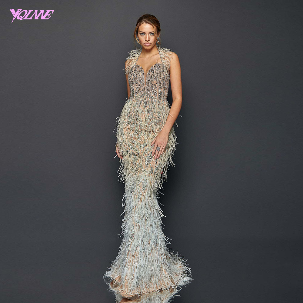 YQLNNE Luxury Halter Feathers Evening Dress Long Silver Crystals Mermaid Evening Gown Sleeveless