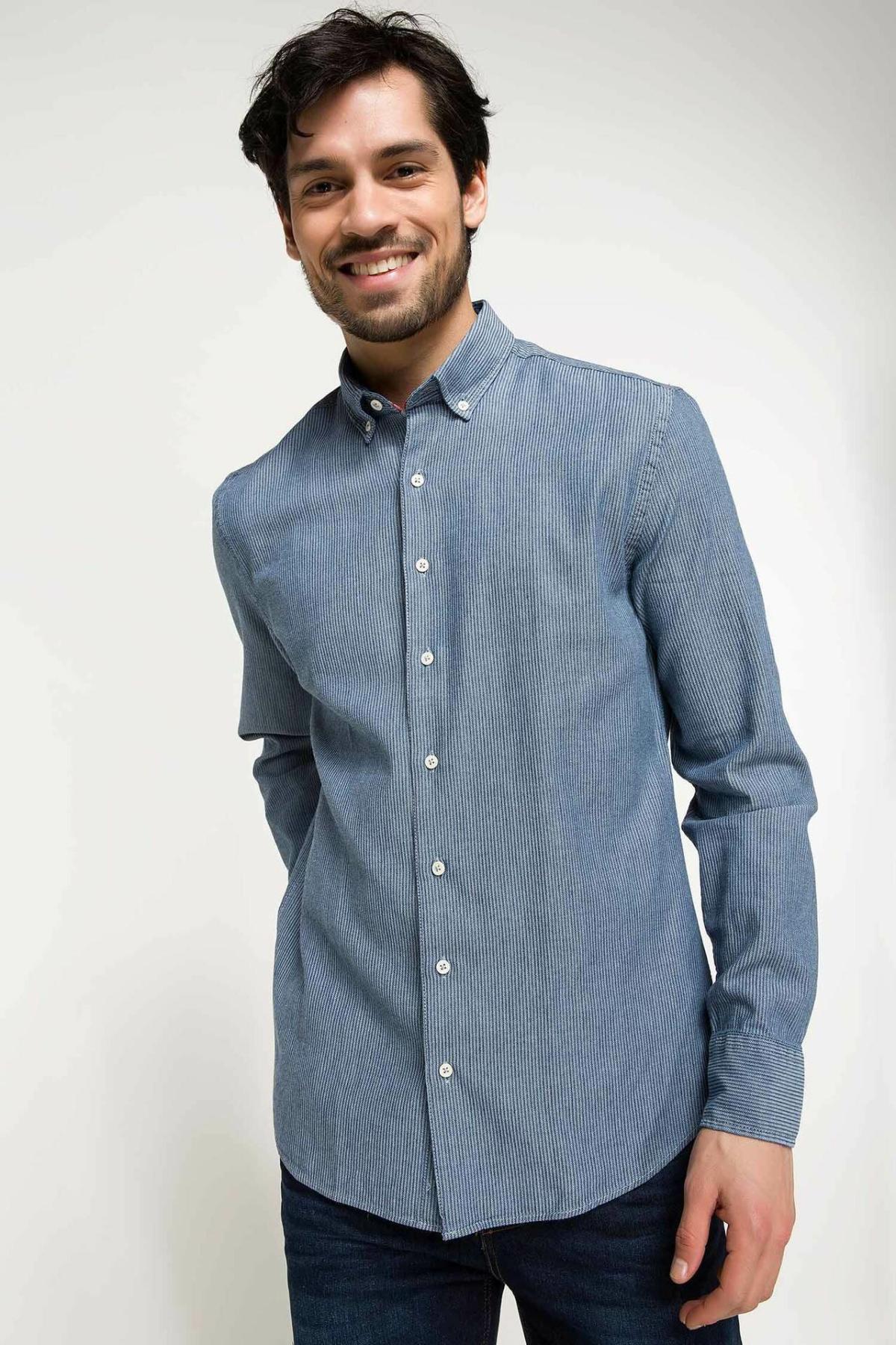 DeFacto Men Simple Pure Color Shirts Long Sleeve Shirts Mens Casual Lapel Collar Casual Shirt Tops New -I3417AZ18SP