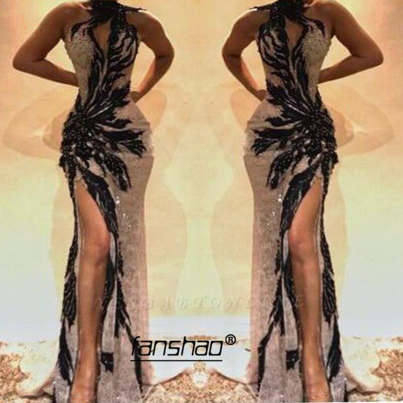 Champagne Mermaid Slit Evening Dresses Sequins Black Lace Sexy Islamic Dubai Saudi Arabic Long Evening Gown Prom Dress