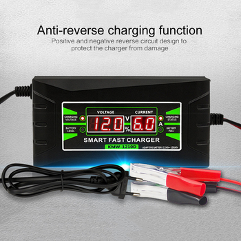 12V Car Motorcycle EU US UK Automatic Smart Battery Charger Charger LCD Display Pulse Repair Charger For Lead Acid Gel Battery image