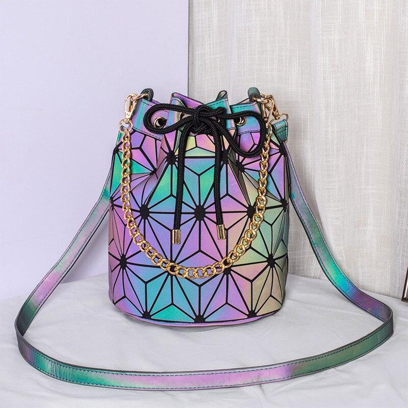 DIOMO Geometric Reflective Luminous Bucket Bag Women Fashion Designer Handbags High Quality Crossbody Shoulder Bags for Girls