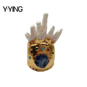 Y · YING натуральное выращенное белое Keshi жемчужное синее кианитовое позолоченное регулируемое кольцо для женщин