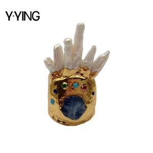 Y·YING natural Cultured White Keshi Pearl Blue Kyanite gold color plated AdjustableRing for women