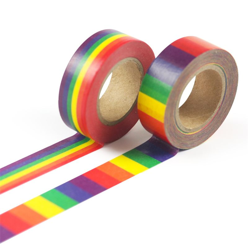 1PC Rainbow Washi Tape School Supplies Stationery Tape Office Stationery 15mm QX2B