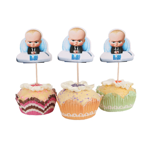 Image 3 - 24pcs Boss Baby Cupcake Toppers  Candy Bar Pick with Bamboo Birthday Party Supplies Kids Baby Shower Decorations