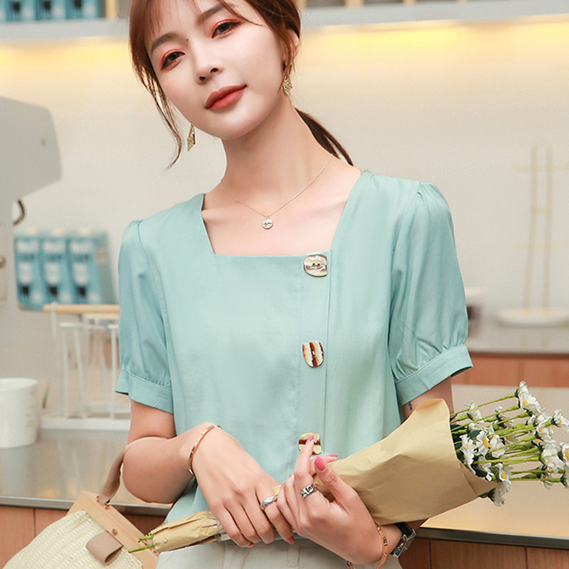 Korean Chiffon Women Blouses Women Square Neck Solid Blouse Top Plus Size Blusas Mujer De Moda 2020 Woman Short Sleeve Blouse OL
