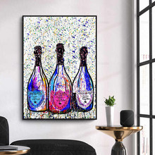 Abstracto moderno champanhe graffiti cartaz da arte da parede quadros da lona cartaz modular fotos sala de estar decoração
