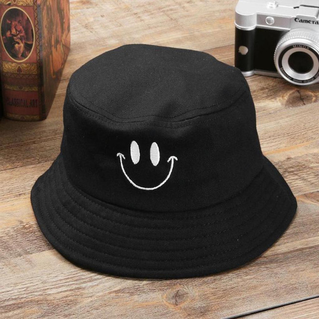 Casual Fisherman Embroidery Smiley Face Fisherman Hat For Women Men Fashion Simple Outdoor Friends Visor Sun Basin Hats W