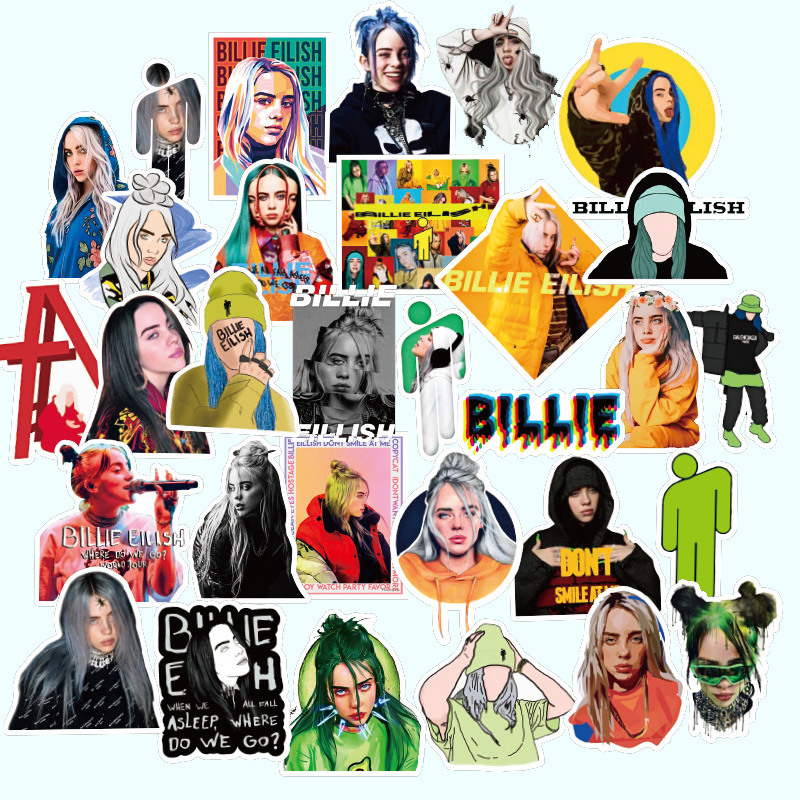 100PCS/lot Pack New Singer Billie Eilish Stickers Waterproof For On Suitcase DIY Laptop Guitar Skateboard Cool Decal Sticker