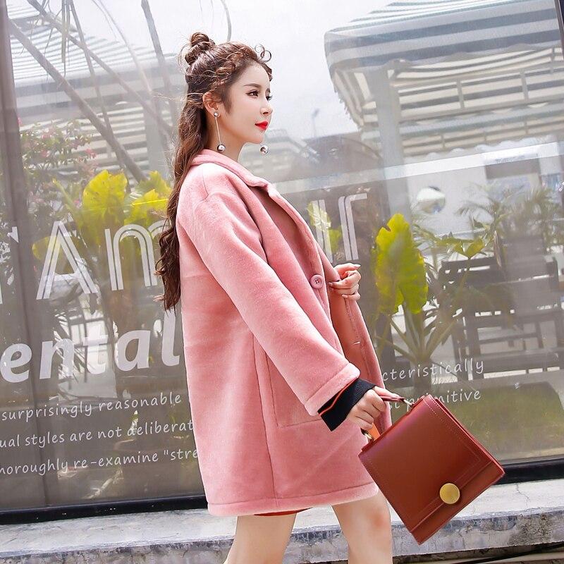 Wool Real Fur Coat Women Pink Long Jacket Double-sided Wear Womens Winter Coats 2020 Korean PU Leather Jackets KJ993 S S S