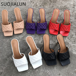 SUOJIALUN Summer Women Slippers 2020 Fashion Brand Sandals High Heel Vintage Square Toe Slipper Ladies Slip On Sandals Slides