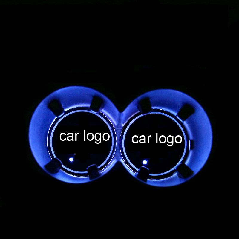 2PCS LED Car Cup Holder Pad Mats Car Auto Atmosphere Lights Colorful For Suzuki