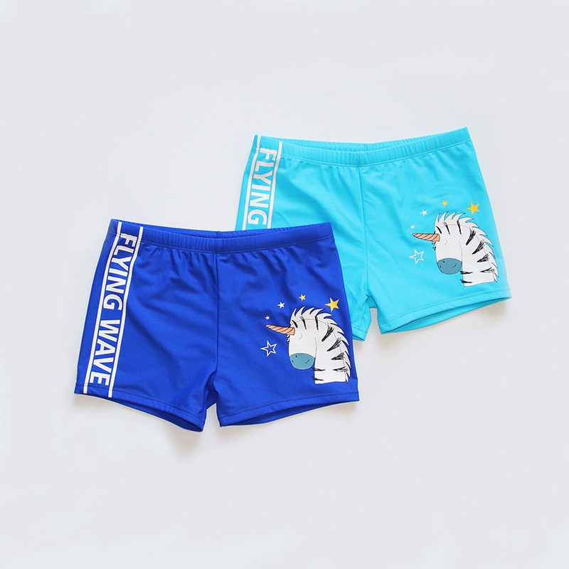 2019 New Style Animal Lettered Cartoon Pattern Boxer Beach Hot Springs Big Kid Cute Swimming Trunks Men's Foreign Trade