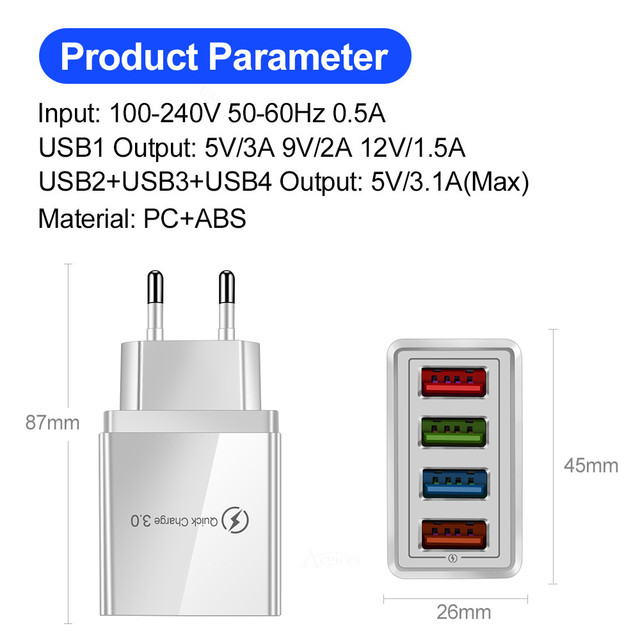 4 Port USB Multiple Quick Charge 3.0 wall adapter