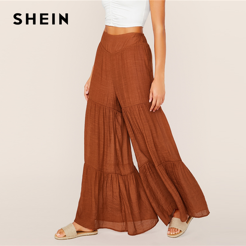 SHEIN Brown High Waist Layered Ruffle Hem Super Palazzo Pants 2019 Autumn Boho Elastic Waist Ladies Shirred Wide Leg Trousers