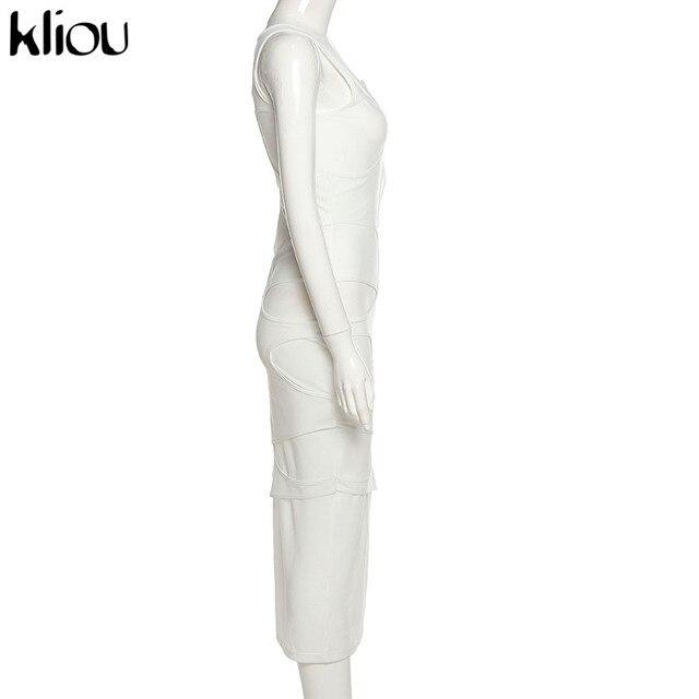 Kliou Sexy Maxi Dress Women Spring Active Irregular Shape Streetwear Sleeveless Skinny Slim Bodycon Vestido Sense of Design Hot 3