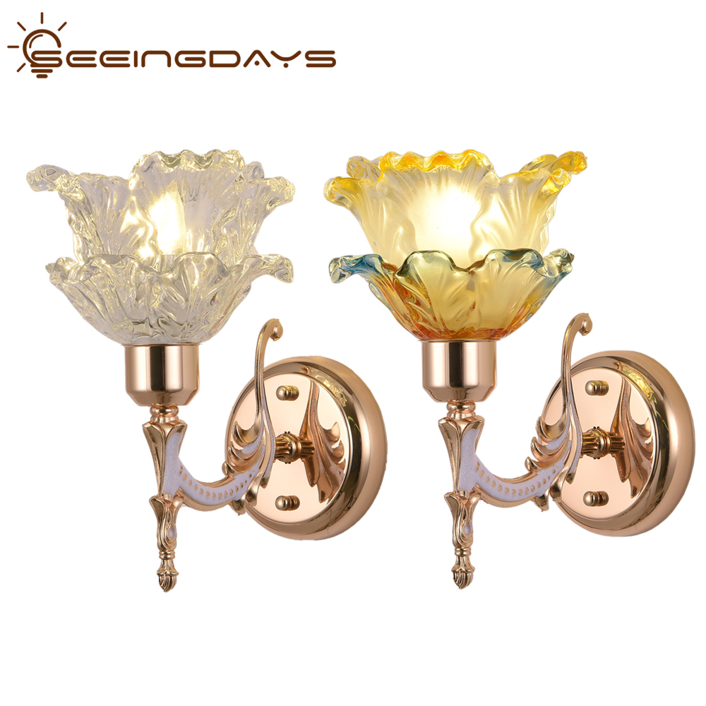 Buy 2 Get 10% Off Flower Carving Crystal Glass Wall Lamps For Bedroom Living Room TV Backdrop Home Decor Double Head 110v 220v