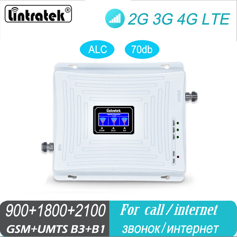 Lintratek Mobile Amplifier Tri Band Repeater 900 1800 2100 GSM DCS WCDMA 2G 3G 4G Repeater LTE Cellular Signal Booster With Mask