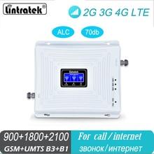 Lintratek móvel amplificador tri banda repetidor 900 1800 2100 gsm dcs wcdma 2g 3g 4g repetidor lte celular impulsionador de sinal para casa
