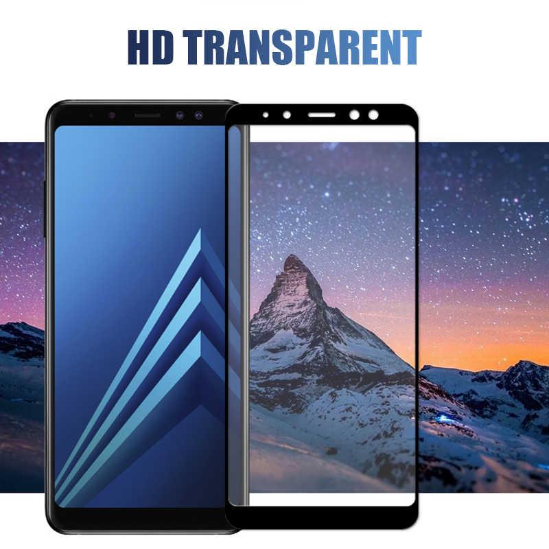 9D 保護ガラスサムスンギャラクシー A6 A8 J4 J6 プラス 2018 J2 J8 A7 A9 2018 強化ガラス画面保護フィルムケース