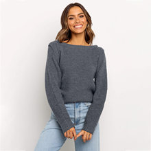 Solid gray pullovers sweater female casual loose oversized soft sweater jumper women autumn winter knitted tops outfit sweater(China)