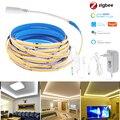 Светодиодная лента Zigbee 3,0, 12 В постоянного тока, 1-5 м, COB, 320 светодиодов, гибкая комнатная светодиодная гирлянда высокой плотности, водонепрон...