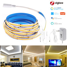 DC12V Zigbee 3.0 1M-5M COB LED Strip 320LEDs High Density Flexible Room LED String Lights Waterproof Smart for Smartthings Alexa